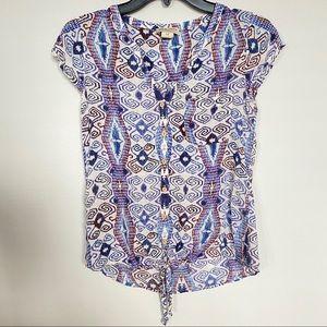 Lucky Brand boho cap sleeve blouse XS